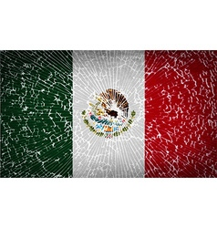 Flags Mexico with broken glass texture vector image