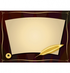 gold feather frame vector image vector image