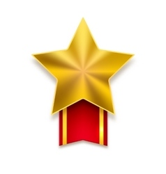 Golden star with red ribbon vector image vector image