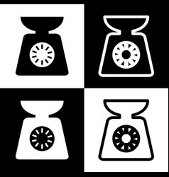 Kitchen scales sign black and white icons vector