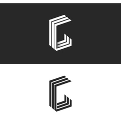 Letter g logo monogram set black and white vector