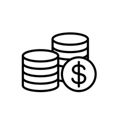 line coins icon on white background vector image