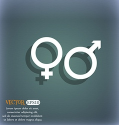 male and female icon symbol on the blue-green vector image