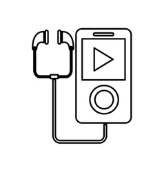 Music player with earphones icon vector