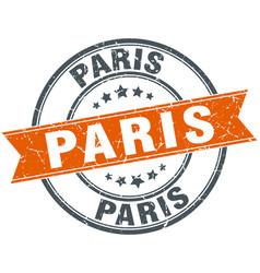 Paris red round grunge vintage ribbon stamp vector