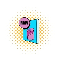 RAW file icon in comics style vector image vector image