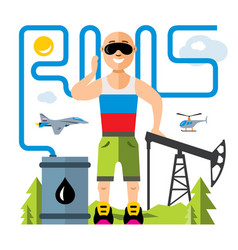 russian oil industry humor concept flat vector image