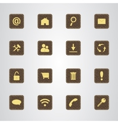 Set of icons on a brown leather texture with gold vector image vector image