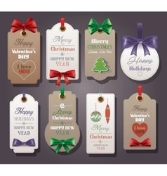 Set of vintage tags with silk bows vector