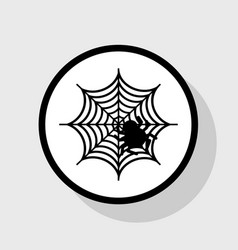 Spider on web flat black vector