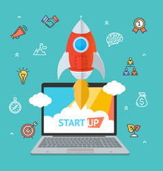 success start up concept space ship rocket and vector image vector image