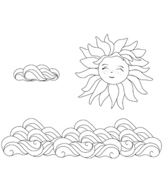 Sun and clouds line drawing vector