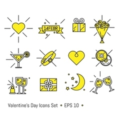Valentine s day icons set in line art style vector image vector image