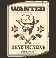 Vintage monochrome wild west wanted poster vector