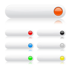 white glossy buttons oval colored web icon wit vector image