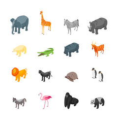wild animals icons set isometric view vector image vector image