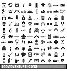 100 adventure icons set simple style vector