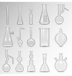 Empty lab flask set vector