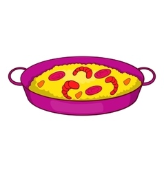 Paella with seafood on pan icon cartoon style vector