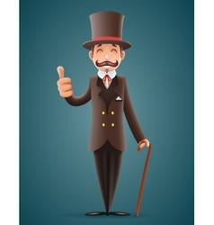 Gentleman victorian business cartoon character vector