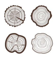 tree rings set saw cut trunk eco design style vector image