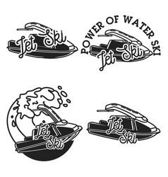Vintage jet ski emblems vector