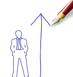 Drawing future success plan for man vector