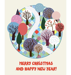 Cute Christmas and New year card with forest vector image