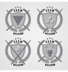 Set of billiard logos and design elements vector