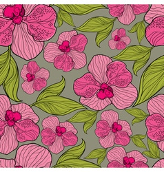 Seamless floral orchid pattern vector