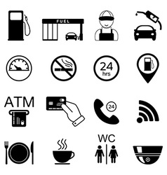 Gas station icons fuel isolated icons vector