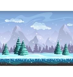 Seamless cartoon winter landscape background vector image