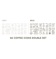 Set of Thin and Bold Coffee Elements and Coffee vector image