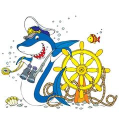 captain shark vector image