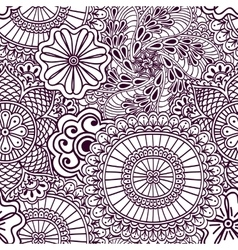 Seamless zenart pattern based on indian henna vector