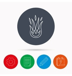 Fire icon hot flame sign vector