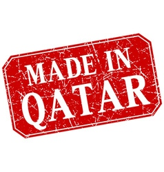 Made in qatar red square grunge stamp vector
