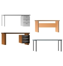 Set of desks for office equipment vector