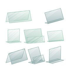 Acrylic advertising stand holder vector