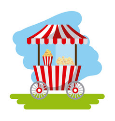Amusement snack cart stand flat icon vector