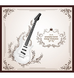 Antique guitar icon vector