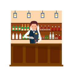 bartender with bottle and glass in hands vector image