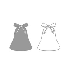 bell with bow ribbon icon grey set vector image vector image