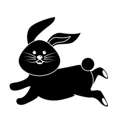 Black contour cute white rabbit animal running vector