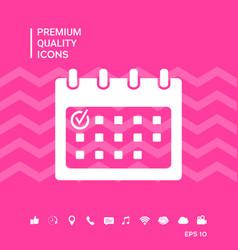 Calendar icon with check mark vector