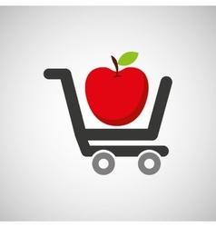 cart buy delicious food apple vector image vector image