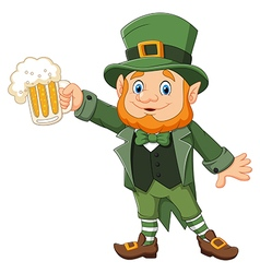 Cartoon St Patricks Day Leprechaun with mug beer vector image