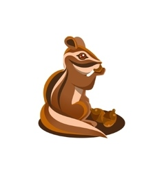 Chipmunk eating acorn vector