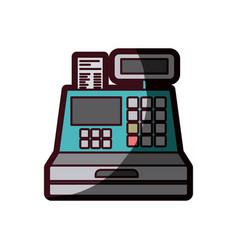 Color silhouette with cash register with thick vector