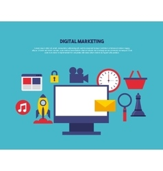 digital marketing set line icons vector image